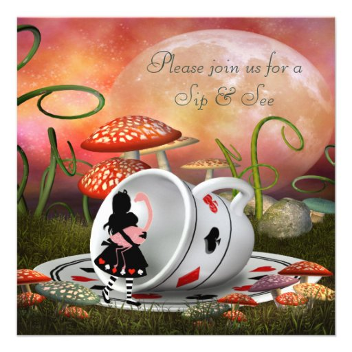 Alice & Flamingo Sip & See Baby Shower Invitation