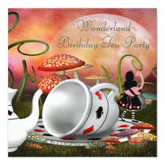 Alice & Flamingo Wonderland Birthday Party Card