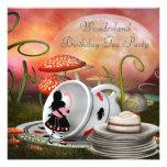 Alice & Flamingo Wonderland Birthday Party Personalised Announcements