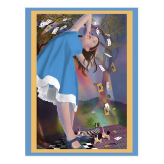 Alice Flying Cards Postcard