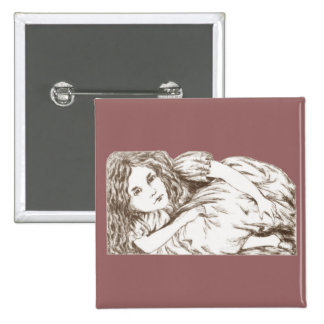 Alice Grows by Lewis Carroll Sepia Tint 15 Cm Square Badge