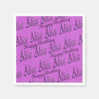 Alice, Happy Birthday, Pink Party Serviettes. Disposable Serviette