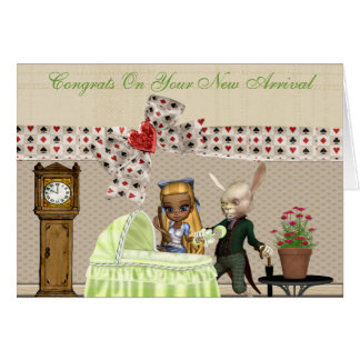 Alice & Hare In Wonderland Over Baby Shower Greeting Card