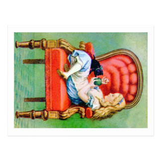 Alice & Her Cat Dinah in the Big Red Velvet Chair Postcard