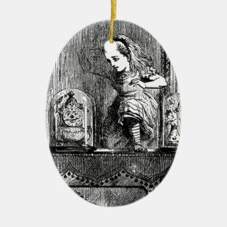 Alice in a Mirror Ceramic Ornament
