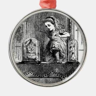 Alice in a Mirror Metal Ornament