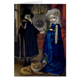 """Alice in a Van Eyck Portrait"" Greeting Card"
