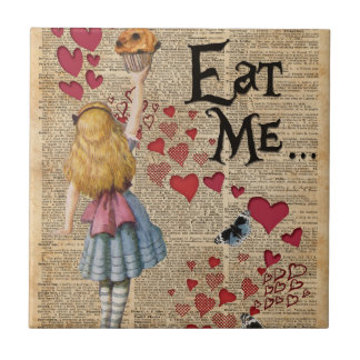 Alice in the Wonderland Eat Me Muffin Small Square Tile