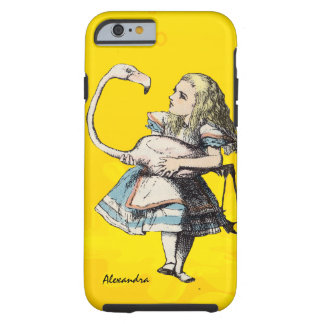 Alice In Wonderland and A Flamingo on Yellow Tough iPhone 6 Case