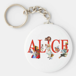 Alice in Wonderland and Friends Basic Round Button Key Ring