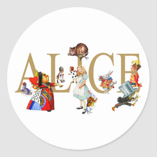 ALICE IN WONDERLAND AND FRIENDS CLASSIC ROUND STICKER