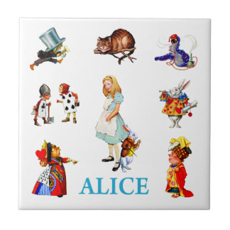 Alice in Wonderland and Friends Small Square Tile
