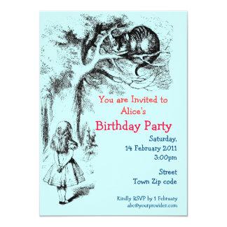 Alice in Wonderland and the Cheshire Cat 11 Cm X 16 Cm Invitation Card