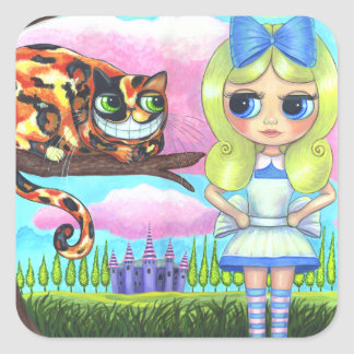 Alice in Wonderland and the Cheshire Cat Emo Square Sticker
