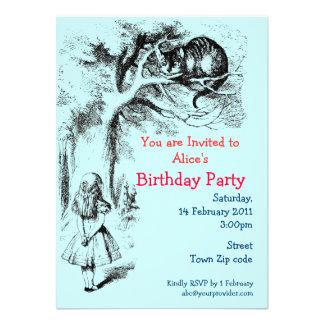Alice in Wonderland and the Cheshire Cat Custom Invites