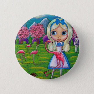 Alice in Wonderland and the Flamingos 6 Cm Round Badge