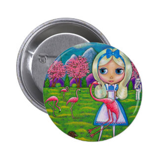 Alice in Wonderland and the Flamingos 6 Cm Round Badge