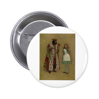 Alice in Wonderland and the King of Hearts Button