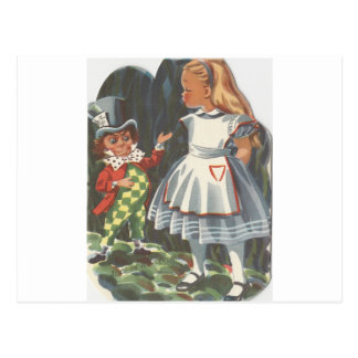 Alice In Wonderland and The Mad Hatter Postcard