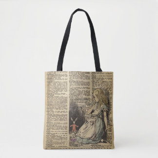 Alice In Wonderland and the White Rabbit Tote Bag