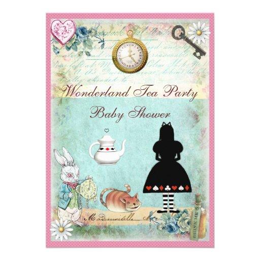 Alice in Wonderland Baby Girl Shower Tea Party Custom Invitations