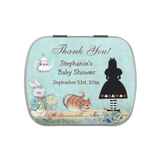 Alice in Wonderland Baby Shower Thank You Favor Candy Tins