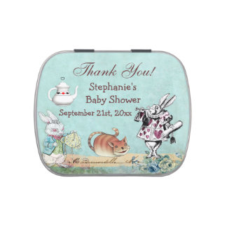 Alice in Wonderland Baby Shower Thank You Favor Candy Tin