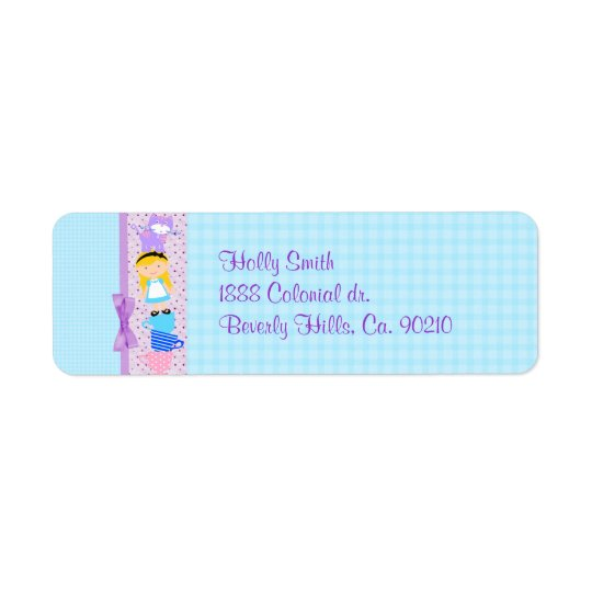 Alice In Wonderland Birthday Celebration Return Address Label