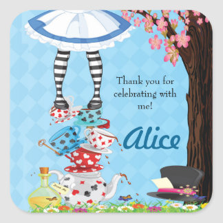 Alice in Wonderland Birthday Favor Stickers