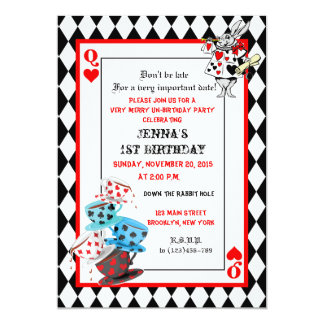Alice in Wonderland Birthday Invite Queen of Heart