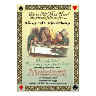 "Alice in Wonderland Birthday Party Invitation 5"" X 7"" Invitation Card"
