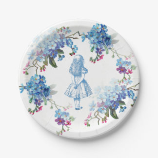 Alice in Wonderland Blue Floral Paper Plate 7 Inch Paper Plate