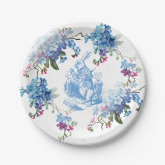 Alice in Wonderland Blue White Rabbit Paper Plate 7 Inch Paper Plate