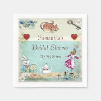 Alice in Wonderland Bridal Shower Personalized Paper Serviettes