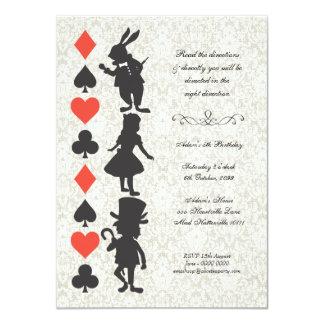 Alice in Wonderland Cards Tea Party Birthday 11 Cm X 16 Cm Invitation Card