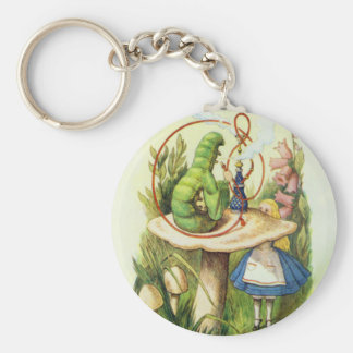 Alice in Wonderland Caterpillar Hookah Button Key Ring