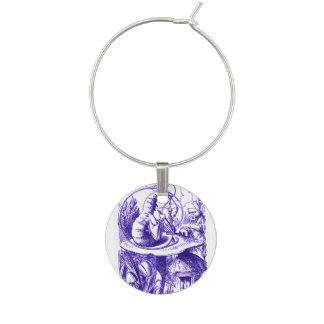 Alice in Wonderland Caterpillar Purple Wine Charm