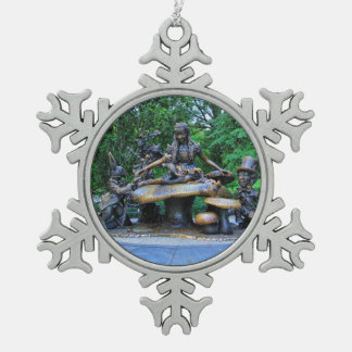 Alice in Wonderland - Central Park NYC #2 Snowflake Pewter Christmas Ornament