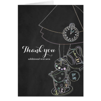 Alice in Wonderland Chalkboard Sketch Thank You Card