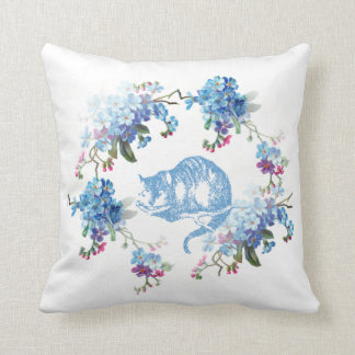 Alice in Wonderland Cheshire Cat Blue Floral Cushion