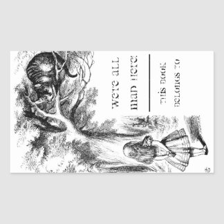 Alice in Wonderland / Cheshire Cat Bookplate Rectangular Sticker