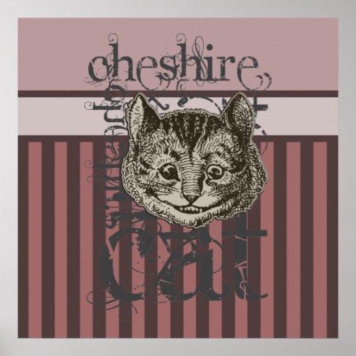 Alice In Wonderland Cheshire Cat Grunge (Pink) Print