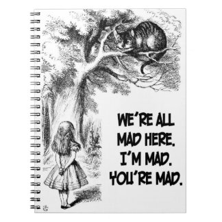 Alice in Wonderland Cheshire Cat Items Notebooks