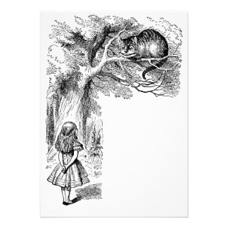 Alice in Wonderland Cheshire Cat with Alice Personalized Announcement
