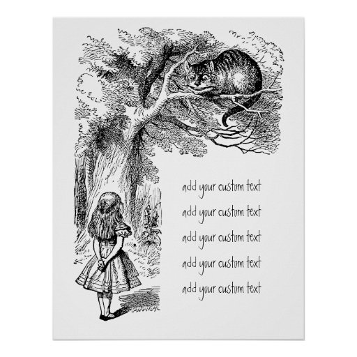 Alice in Wonderland; Cheshire Cat with Alice Print