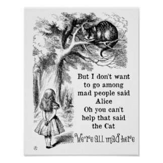 Alice in Wonderland; Cheshire Cat with Alice Posters
