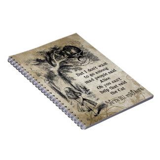 Alice in Wonderland; Cheshire Cat with Alice Spiral Notebook
