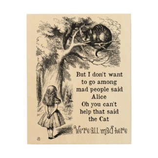 Alice in Wonderland; Cheshire Cat with Alice Wood Canvas