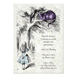 Alice in Wonderland Cheshire Tea Party Birthday 13 Cm X 18 Cm Invitation Card