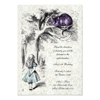 Alice in Wonderland Cheshire Tea Party Birthday Card